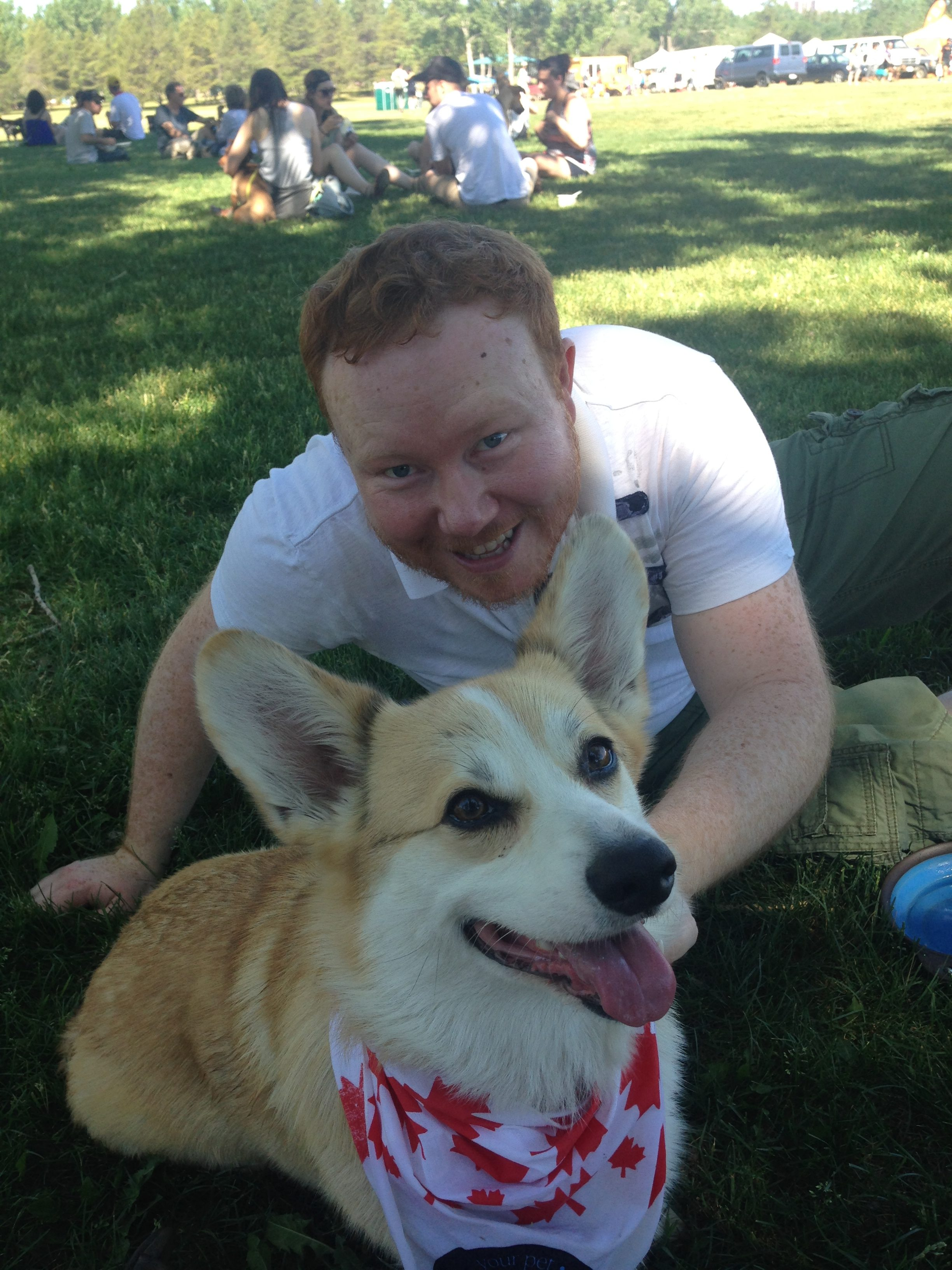 Watson the Corgi with his Dad Chris at last year's Pets in the Park in Edmonton Alberta Canada