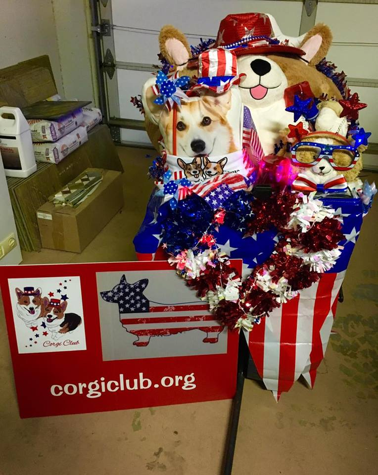"Corgi Club's ""float"" for the Telluride Town Parade in Colorado. Photo: Ginger Sirin"